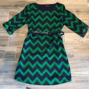 Adorable green and navy chevron dress